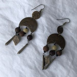 Vintage handmade wooden brass bead carved earring